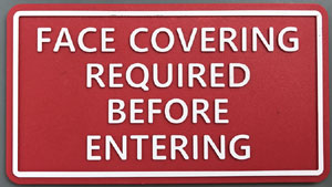 Face Covering required plate