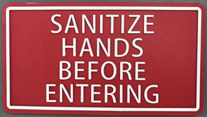 Sanitize hands plate